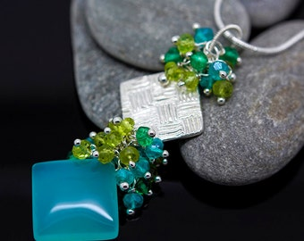 Square gemstone necklace Apatite mint Chalcedony Peridot green Quartz fine silver square pendant pmc aztec mayan jewelry cleavage - Velina