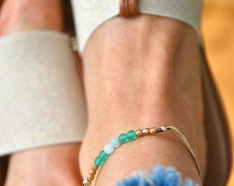 Sea glass beaded anklet,gemstone anklet,beach anklet,boho anklet,ankle bracelet,beach anklet. Tiedupmemories