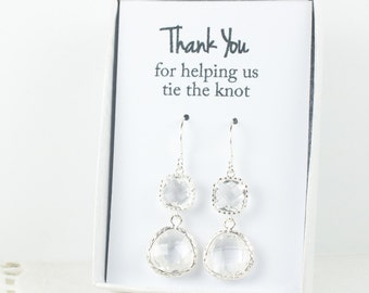 Long Crystal Silver Earrings, Clear Silver Drop Earrings, Crystal Silver Earrings, Bridesmaid Earrings, Bridesmaid Gift, Wedding Jewelry