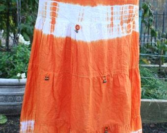 Orange white hippie skirt tie dye mirrored India cotton long skirt small medium