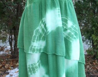 Green hippie tie dye layered sundress Free Size