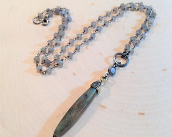 Labradorite and diamond spear necklace