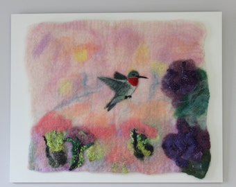 Hummingbird-Felted Wool Wall Hanging