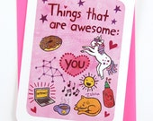 Things that are Awesome - valentine card friend unicorn valentine card funny valentine card her anniversary card birthday card