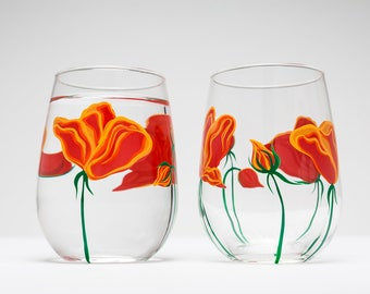 Best Seller California Poppy Stemless Wine Glasses - Hand Painted Wine Glasses Mothers Day Gift Set of 2 glasses California Poppies ON SALE