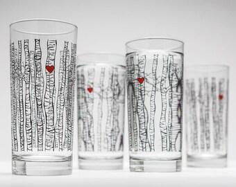 Birch Tree Glassware - Set of 4 Highball Glasses, Birch Tree Wedding Glasses, Birch Tree Themed Wedding, Birch Trees, Valentine Glasses