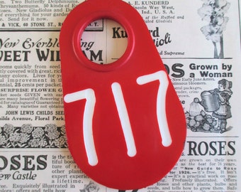Vintage Red Doublesided Cow Tag #717
