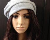 Fleece Hat Slouchy Beret Tam Heather Gray Cold Weather Fashion