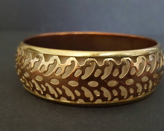 Vintage Gold Bangle -Resort Jewelry Filigree Bracelet Boho Gold on Copper Cuff Present for Her