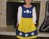 Cute Swedish National Girls Costume Scandinavian Sweden International Folk Costume Dress, blue daisies yellow, flowers dress-up, traditional