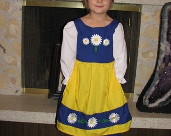 Cute Swedish National Girls Costume Scandinavian Sweden International Folk Costume Dress