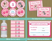 Pawty Party printable decorations & invitation INSTANT DOWNLOAD pet puppy kitten birthday #P-23-set1 / you can personalize text from home