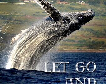 Whale photograph, inspirational photo, humpback whale, breaching whale, Hawaiian photo, whale wall art, whale decor, whale art , Ocean art