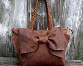 RESERVED for Bailey Leather Bow Bag in Chocolate Brown Distress Medium Size by Stacy Leigh