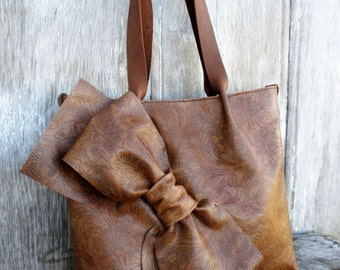 Leather Bow Tote in Distressed Brown Embossed Tooled Cowhide by Stacy Leigh