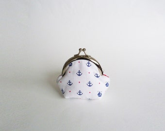 Coin purse, blue and white cotton sailboat fabric, cotton pouch