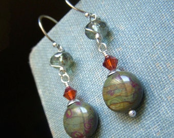 Earth Toned Earrings Sterling Silver, Czech Glass Coin Shape Earrings,  Sage Olive Green Earrings, Versatile Dangle Earrings