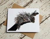 Porcupine Card of Original Collage