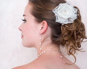 Ivory Silk Organza Rose Hair Clip With Pearls & Rhinestones, Bridal, Wedding
