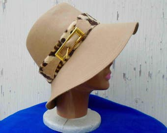 Vintage Seventies Floppy Beige Wool Hat with Faux Leopard Band Trim / Adolfo 2 New York Paris