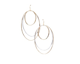 Ellipse Earrings, 14k Gold Filled and Sterling Silver