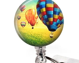 Hot Air Balloon Badge Holder, Retractable ID Badge Reel, ID Holder, Name Badge Reel 60