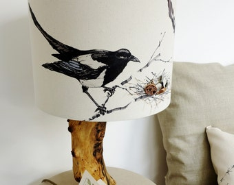 Magpie Lampshade - Magpie light shade - Gift for bird lovers - Gift for hoarders - Magpie Shade - Bird decor - Bird Lampshade - Fabric shade