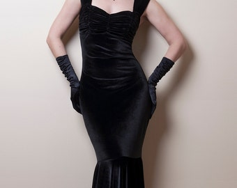 Black Velvet Mermaid Dress-Made to order
