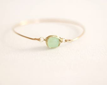 Mint Green Chalcedony Bangle Gold Green Sage Gift for her Under 50 Vitrine Spring Fashion