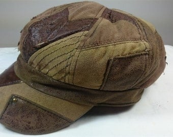 Vintage Brown Leather and Brown Suede Leather Cap Hat 1960's - 1970's size small