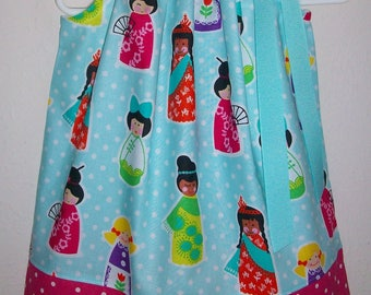 Its a Small World Dress Pillowcase Dress with Kids Around the World Aqua and Hot Pink Michael Miller baby dress toddler dress Kids Clothes