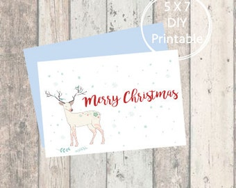 Printable Christmas Card Cute Deer, Merry Christmas, Printable Christmas Card, Christmas Card, Printable, Holiday Card, Cute Printable