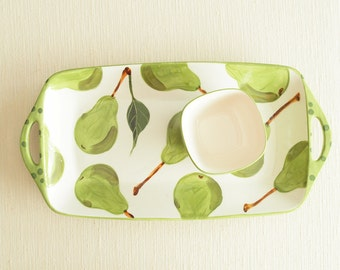 Chip and Dip Set Veggie and Dip Set Ceramic Chip & Dip Pear Large Rectangular Handle Serving Tray XSm Square Bowl Pottery Hostess Gift P
