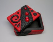 Black and Red Dragon Wood Box, Trinket Box, Treasure Box, Black  and Red Scales w/Ruby Vintage Cabochons