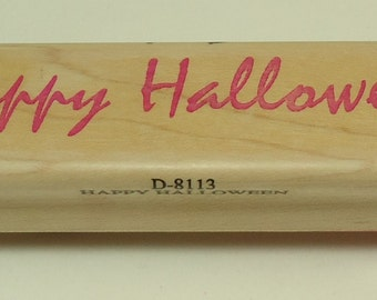 Happy Halloween D-8113 Wood Mounted Rubber Stamp By Stampassions
