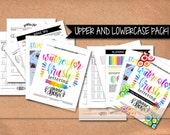 Upper and Lower Case Alphabet Watercolor Brush Lettering worksheets + Practice Drills plus Tips - PDF File Only