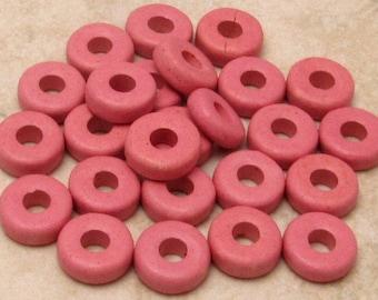 Mykonos Round Washer Greek Matte Ceramic Beads, 8mm, Rose Pink, 25-Pieces M228