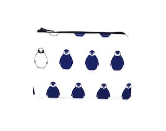 Penguin Zipper Pouch / Cute Arctic Penguins in Navy Blue / Winter Coin Purse