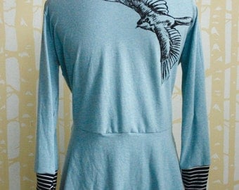 Cicada Cardigan in NEW blackbird print, choose your size and color 100% recycled poly jersey with contrasting striped cuffs