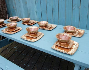 Square Dinnerware Set for Eight in Brownstone - Made to Order