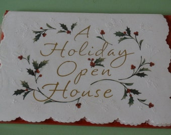Holiday Open House Christmas Invitations / Holiday Party Invitations, Christmas Open House Invites (8) cards, Lot #12