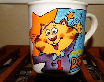 Vintage Hallmark Mug Dynamic Dad, Fathers Day Mug, Tabby Cat, Kitten, Feline, Made in Japan, Hallmark Cards Inc.