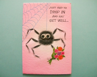 Vintage Unused Get Well Card with Googly Eyed Spider on the Front and a Pop Up Monster on the Inside