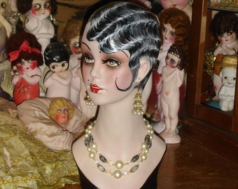 Young Flapper Girl Mannequin Head Black Hair