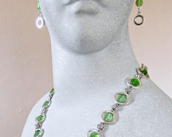Pewter Turtles and Frames Green Glass Necklace and Earrings