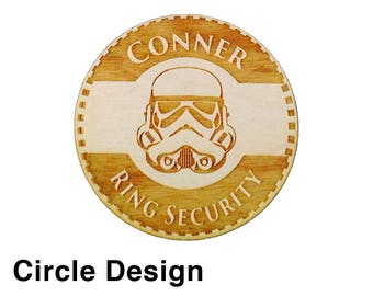 Ring Security, Ring Bear Gift, Personalized Ring Bearer Badge, Ring Bearer Security Badge, Wood Badge, 3 Badge Designs