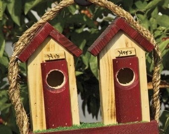 Small His and Hers Outhouse Birdhouse