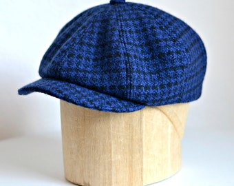 Men's Newsboy Cap in Blue and Black Check Wool - Made to Order