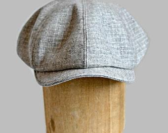 Men's Newsboy Hat in Vintage Gray Wool - Newsboy Cap - Men's Hat