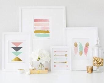 Arrow Feather Geometric Paint Strokes Wall Art, Gold Pink Mint Digital Printable Art Nursery Home Office Decor Digital Printable Art